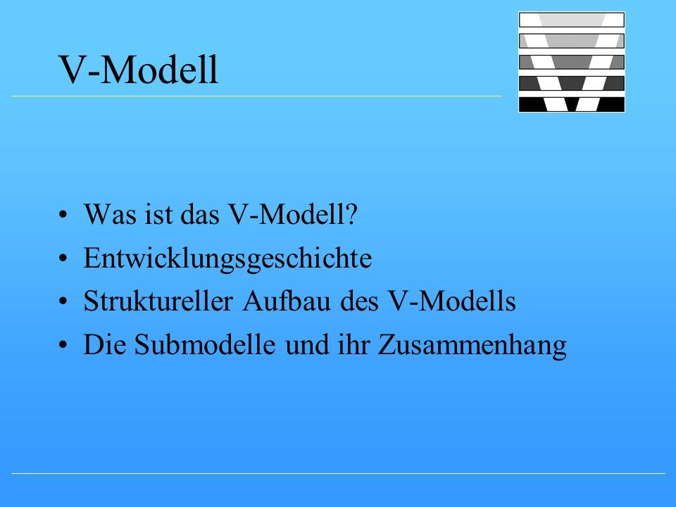 V-Modell Was ist das V-Modell? Entwicklungsgeschichte Struktureller Aufbau des V-Modells Die Submodelle und ihr Zusammenhang