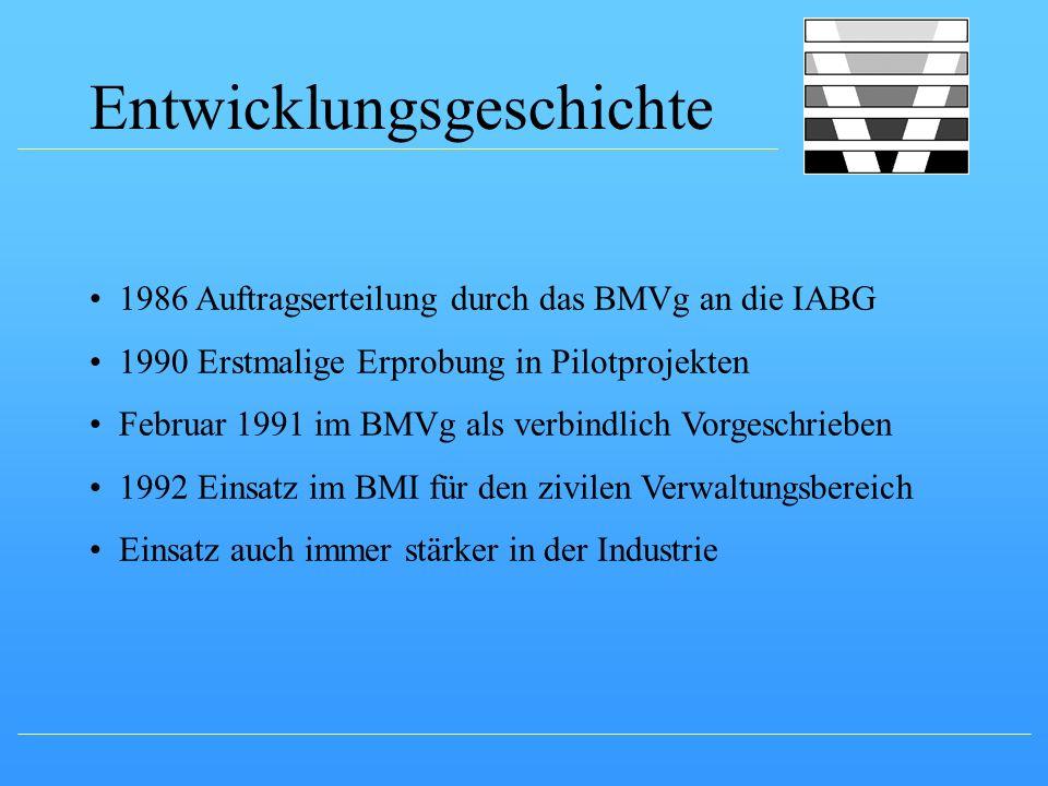Entwicklungsgeschichte 1986 Auftragserteilung durch das BMVg an die IABG 1990 Erstmalige Erprobung in Pilotprojekten Februar 1991 im BMVg als verbindl