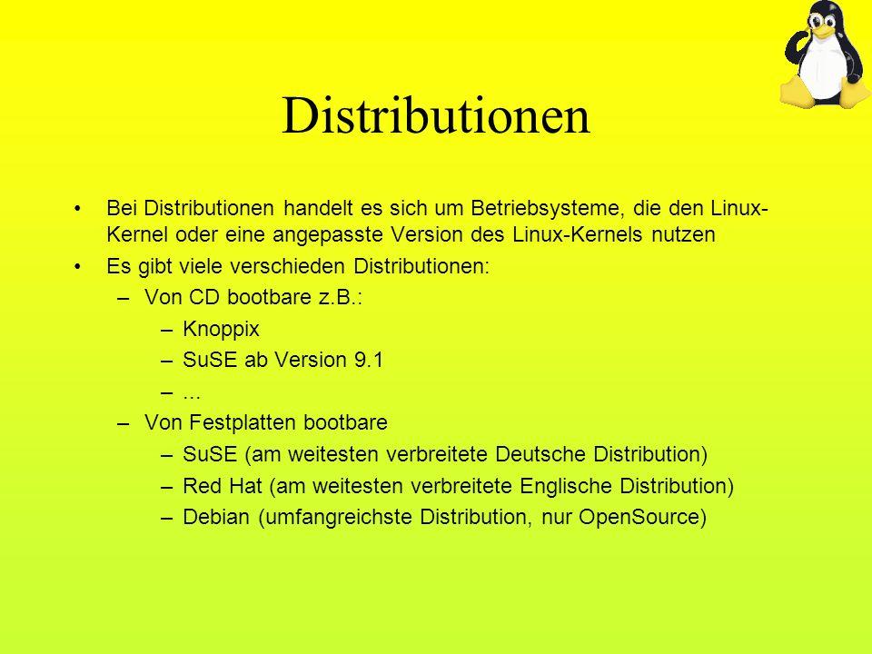 Distributionen Bei Distributionen handelt es sich um Betriebsysteme, die den Linux- Kernel oder eine angepasste Version des Linux-Kernels nutzen Es gi