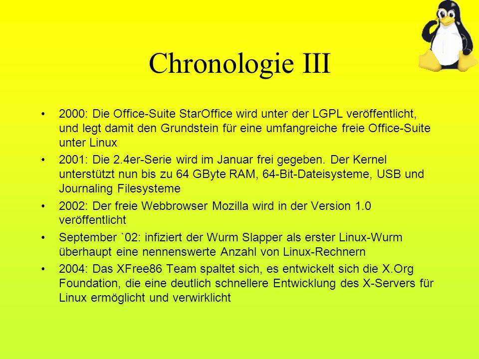 Chronologie III 2000: Die Office-Suite StarOffice wird unter der LGPL veröffentlicht, und legt damit den Grundstein für eine umfangreiche freie Office