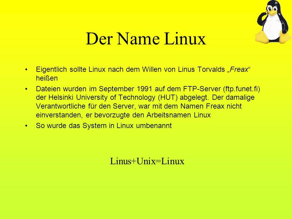 Der Name Linux Eigentlich sollte Linux nach dem Willen von Linus Torvalds Freax heißen Dateien wurden im September 1991 auf dem FTP-Server (ftp.funet.