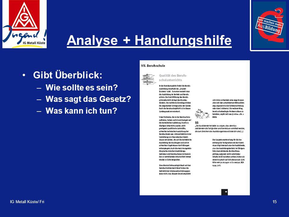 IG Metall Küste/ Fri15 Analyse + Handlungshilfe Gibt Überblick: –Wie sollte es sein.