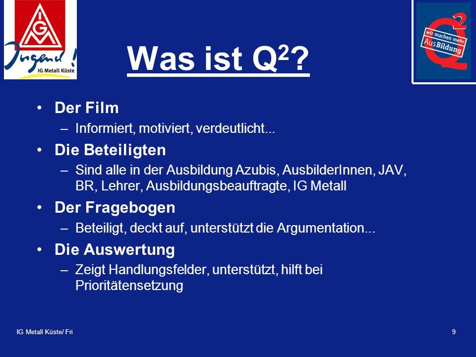 IG Metall Küste/ Fri9 Was ist Q 2 . Der Film –Informiert, motiviert, verdeutlicht...