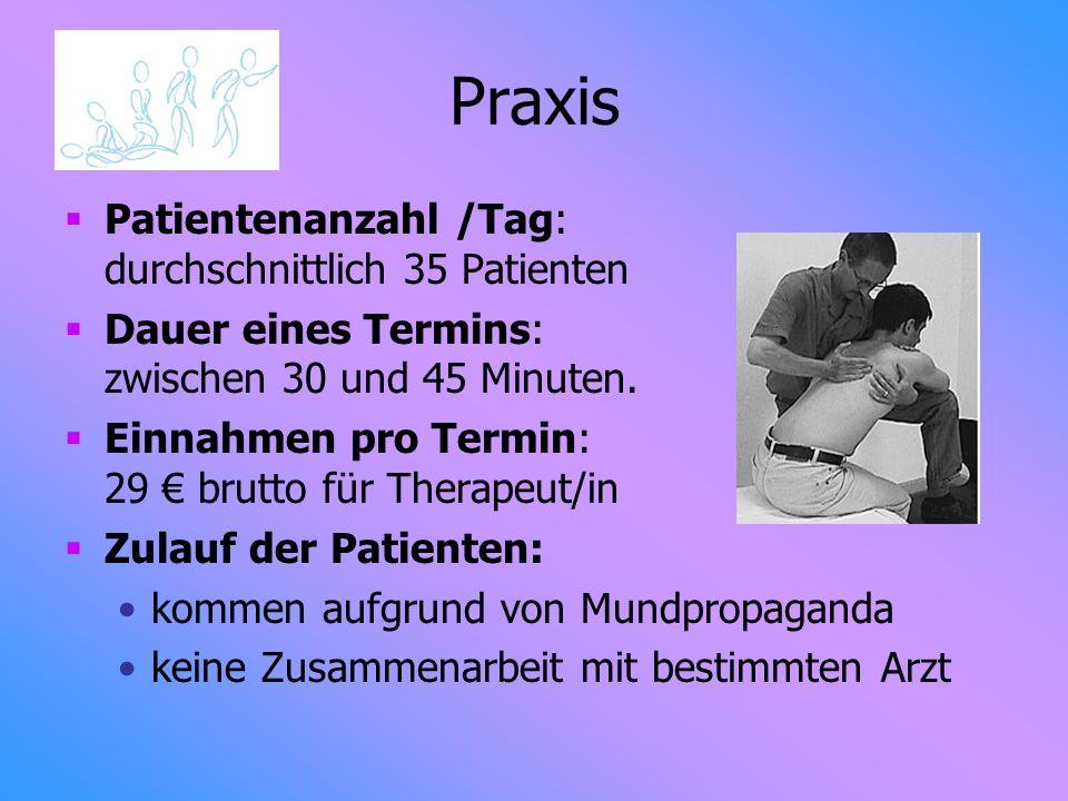 Praxis Patientenanzahl /Tag: durchschnittlich 35 Patienten Dauer eines Termins: zwischen 30 und 45 Minuten. Einnahmen pro Termin: 29 brutto für Therap