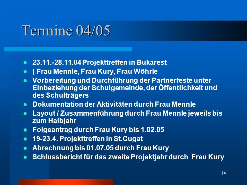 14 Termine 04/05 23.11.-28.11.04 Projekttreffen in Bukarest ( Frau Mennle, Frau Kury, Frau Wöhrle Vorbereitung und Durchführung der Partnerfeste unter