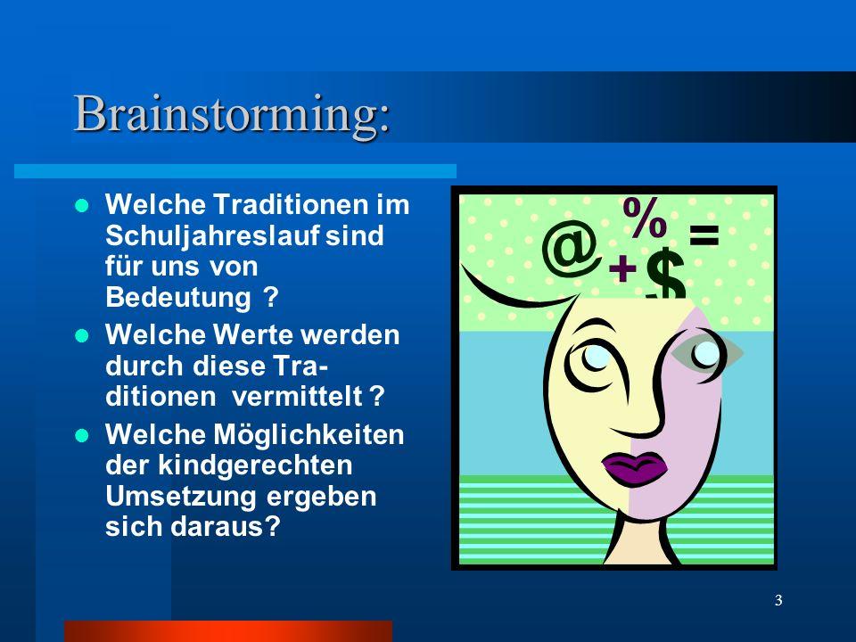 3 Brainstorming: Welche Traditionen im Schuljahreslauf sind für uns von Bedeutung .