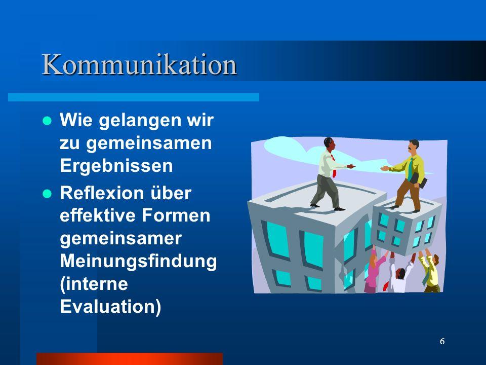 6 Kommunikation Wie gelangen wir zu gemeinsamen Ergebnissen Reflexion über effektive Formen gemeinsamer Meinungsfindung (interne Evaluation)