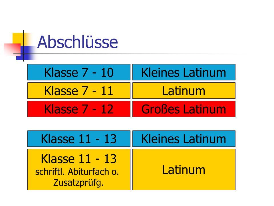 Abschlüsse Klasse 7 - 10Kleines Latinum Klasse 7 - 11Latinum Klasse 7 - 12Großes Latinum Klasse 11 - 13Kleines Latinum Klasse 11 - 13 schriftl. Abitur