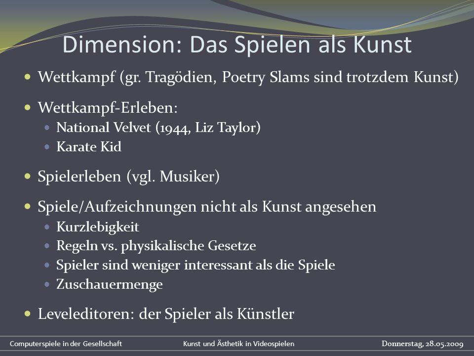 Dimension: Das Spielen als Kunst Wettkampf (gr. Tragödien, Poetry Slams sind trotzdem Kunst) Wettkampf-Erleben: National Velvet (1944, Liz Taylor) Kar