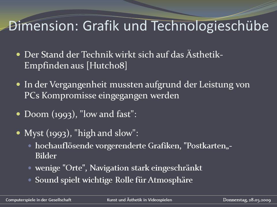 Dimension: Grafik und Technologieschübe Der Stand der Technik wirkt sich auf das Ästhetik- Empfinden aus [Hutch08] In der Vergangenheit mussten aufgru