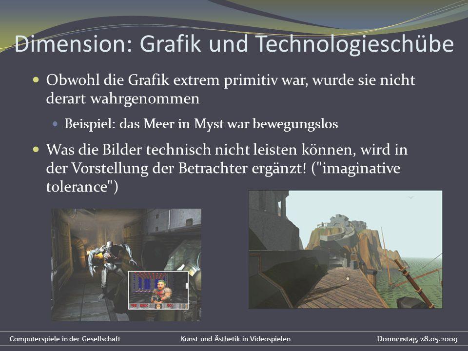 Dimension: Grafik und Technologieschübe Obwohl die Grafik extrem primitiv war, wurde sie nicht derart wahrgenommen Beispiel: das Meer in Myst war bewe