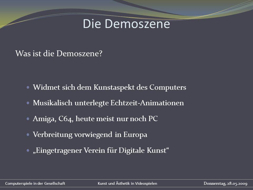 Die Demoszene Was ist die Demoszene? Widmet sich dem Kunstaspekt des Computers Musikalisch unterlegte Echtzeit-Animationen Amiga, C64, heute meist nur