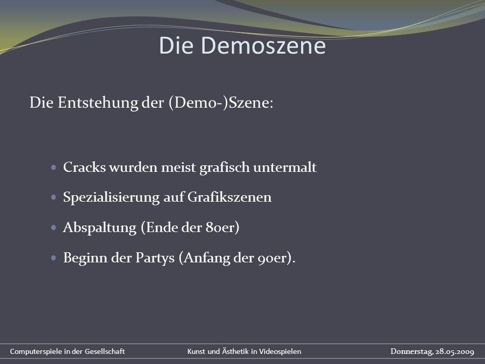 Die Demoszene Die Entstehung der (Demo-)Szene: Cracks wurden meist grafisch untermalt Spezialisierung auf Grafikszenen Abspaltung (Ende der 80er) Begi