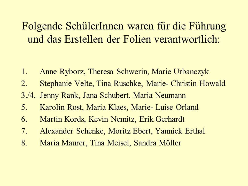 Folgende SchülerInnen waren für die Führung und das Erstellen der Folien verantwortlich: 1. Anne Ryborz, Theresa Schwerin, Marie Urbanczyk 2. Stephani