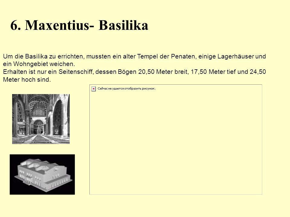 Um die Basilika zu errichten, mussten ein alter Tempel der Penaten, einige Lagerhäuser und ein Wohngebiet weichen. Erhalten ist nur ein Seitenschiff,