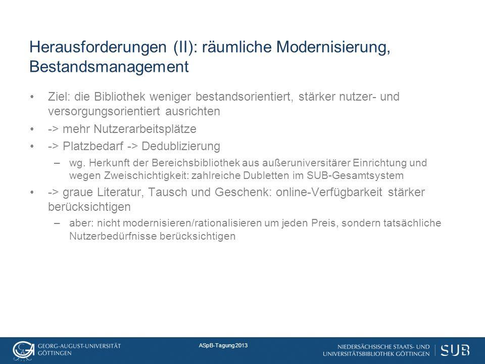 Herausforderungen (II): räumliche Modernisierung, Bestandsmanagement Ziel: die Bibliothek weniger bestandsorientiert, stärker nutzer- und versorgungsorientiert ausrichten -> mehr Nutzerarbeitsplätze -> Platzbedarf -> Dedublizierung –wg.