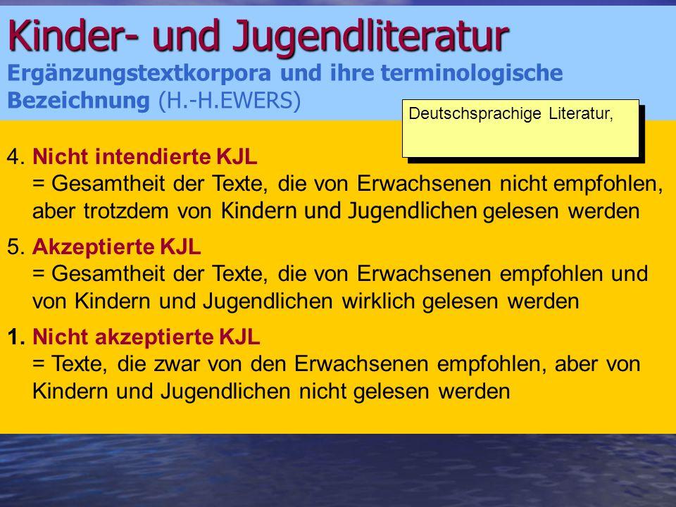 Kinder- und Jugendliteratur Handlungssystem der KJL in den deutschsprachigen Ländern (= Subsystem der KJL) Ein Teilsystem des gesellschaftlichen Handlungs- und Sozialsystems Literatur der Weg des vom Autor schon beendeten Werkes zum Leser