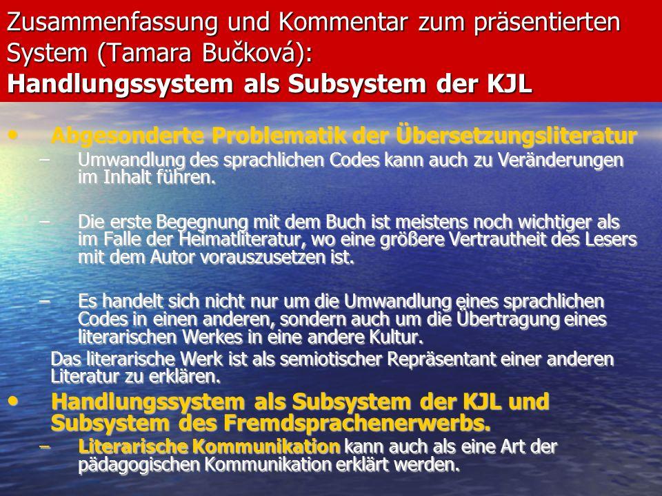 Abschlussworte aus der Sicht der Komparatistik Trotz aller Unterschiede kann in beiden Systemen, dem der deutschsprachigen Länder und dem tschechischen, ein einigendes Element gefunden werden.