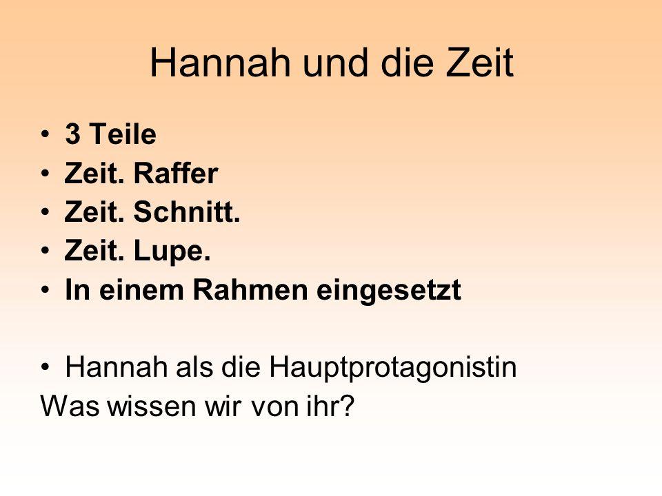 Hannah und die Zeit 3 Teile Zeit. Raffer Zeit. Schnitt.