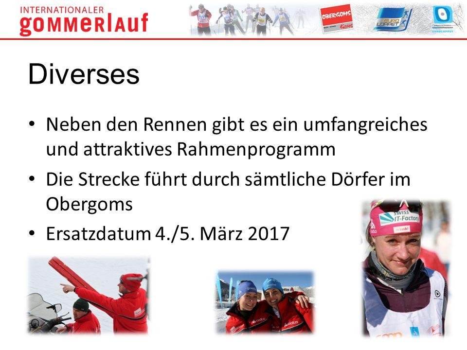 Neben den Rennen gibt es ein umfangreiches und attraktives Rahmenprogramm Die Strecke führt durch sämtliche Dörfer im Obergoms Ersatzdatum 4./5. März
