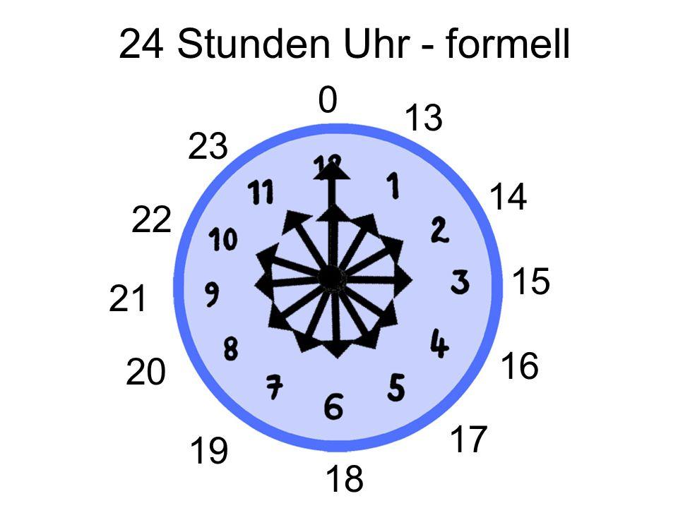 24 Stunden Uhr Es ist… …zwölf Uhr. …null Uhr.