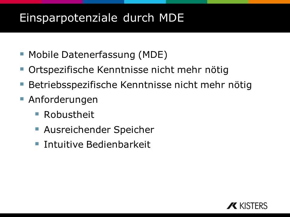 Einsparpotenziale durch MDE Mobile Datenerfassung (MDE) Ortspezifische Kenntnisse nicht mehr nötig Betriebsspezifische Kenntnisse nicht mehr nötig Anf