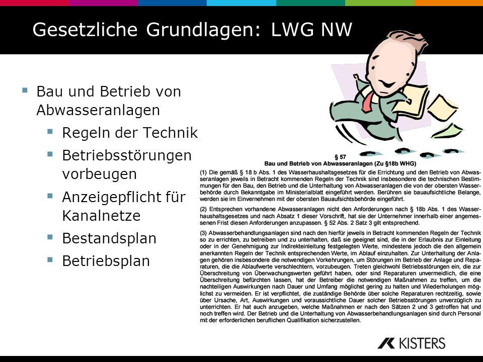 Gesetzliche Grundlagen: LWG NW Bau und Betrieb von Abwasseranlagen Regeln der Technik Betriebsstörungen vorbeugen Anzeigepflicht für Kanalnetze Bestan