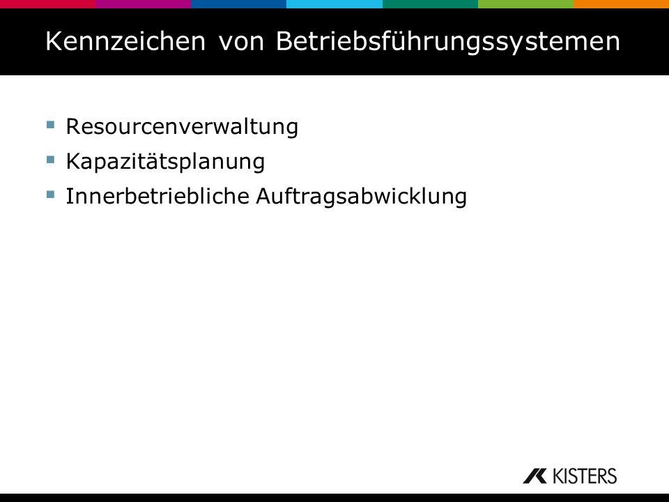 Kennzeichen von Betriebsführungssystemen Resourcenverwaltung Kapazitätsplanung Innerbetriebliche Auftragsabwicklung