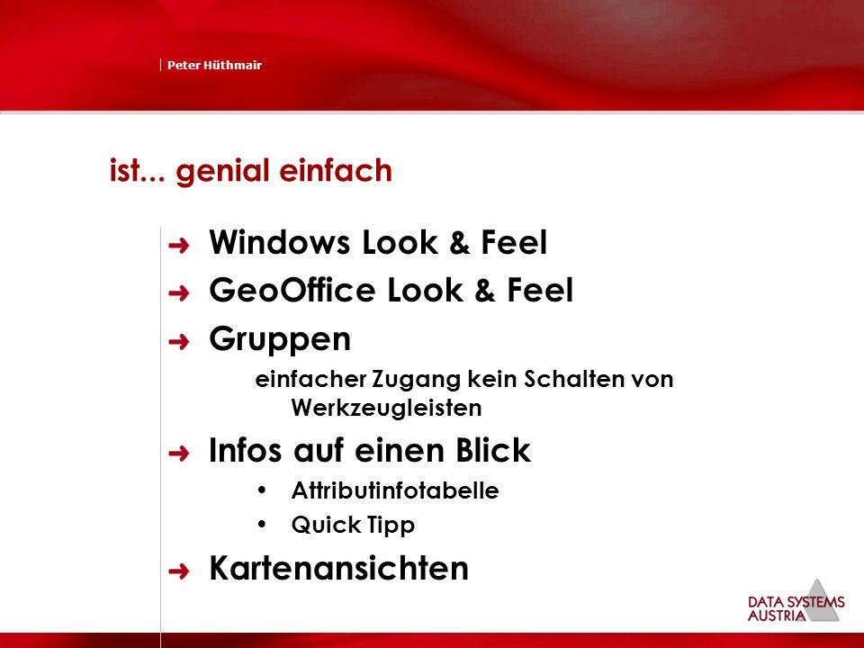 Peter Hüthmair ist... genial einfach Windows Look & Feel GeoOffice Look & Feel Gruppen einfacher Zugang kein Schalten von Werkzeugleisten Infos auf ei