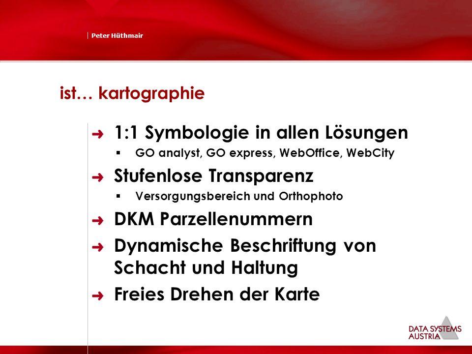 Peter Hüthmair ist… kartographie 1:1 Symbologie in allen Lösungen GO analyst, GO express, WebOffice, WebCity Stufenlose Transparenz Versorgungsbereich