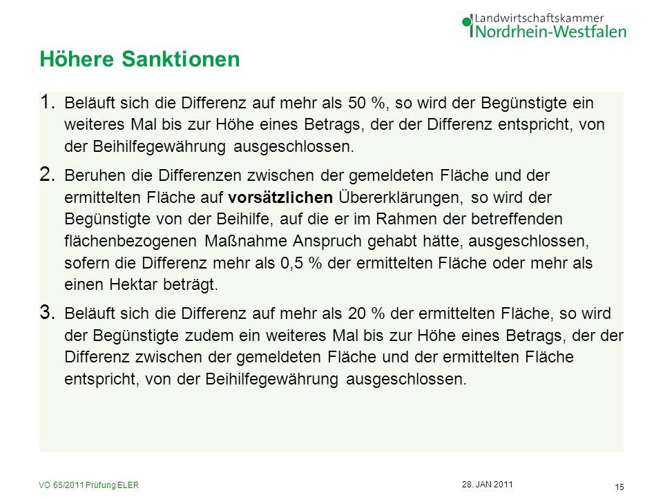 VO 65/2011 Prüfung ELER 15 28. JAN 2011 Höhere Sanktionen 1. Beläuft sich die Differenz auf mehr als 50 %, so wird der Begünstigte ein weiteres Mal bi