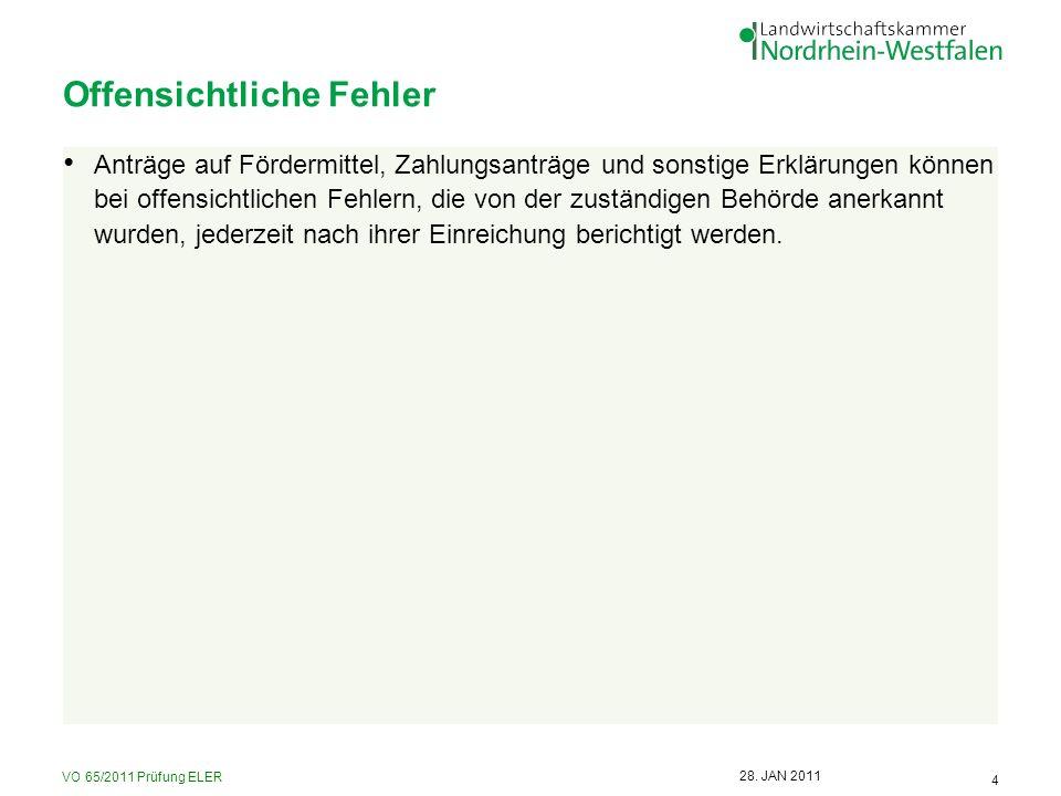 VO 65/2011 Prüfung ELER 15 28.JAN 2011 Höhere Sanktionen 1.