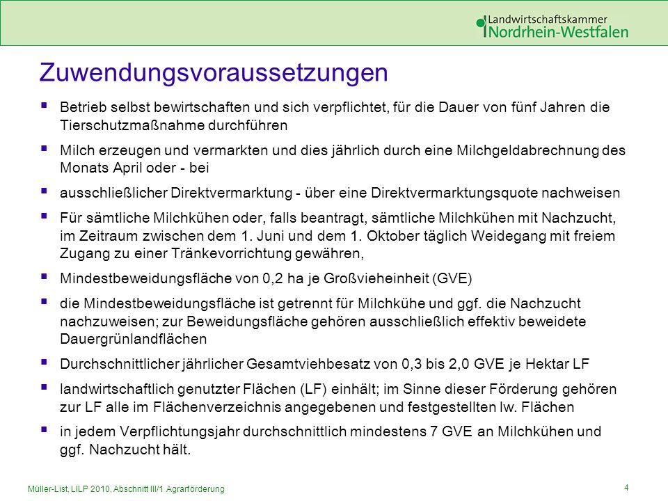 4 Müller-List, LILP 2010, Abschnitt III/1 Agrarförderung Zuwendungsvoraussetzungen Betrieb selbst bewirtschaften und sich verpflichtet, für die Dauer