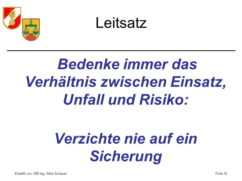 Erstellt von: OBI Ing. Albin SchauerFolie 12 Leitsatz Bedenke immer das Verhältnis zwischen Einsatz, Unfall und Risiko: Verzichte nie auf ein Sicherun