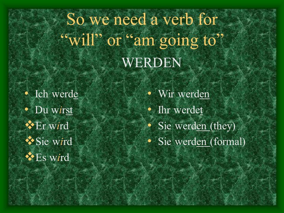 So we need a verb for will or am going to Ich werde i Du wirst i Er wird i Sie wird i Es wird Wir werden Ihr werdet Sie werden (they) Sie werden (formal) WERDEN