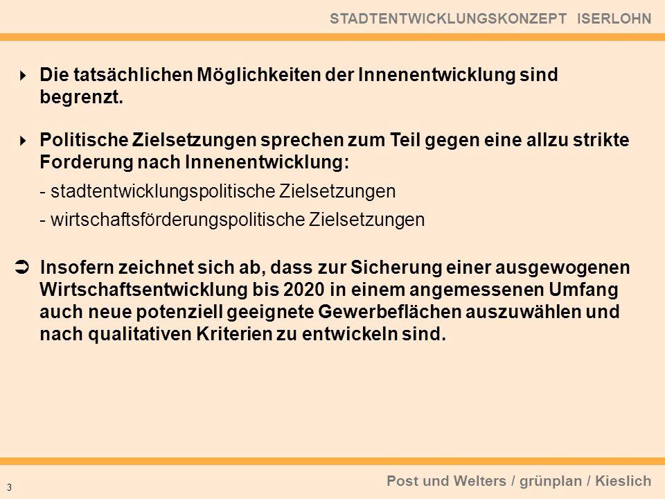Post und Welters / grünplan / Kieslich STADTENTWICKLUNGSKONZEPT ISERLOHN Die tatsächlichen Möglichkeiten der Innenentwicklung sind begrenzt.