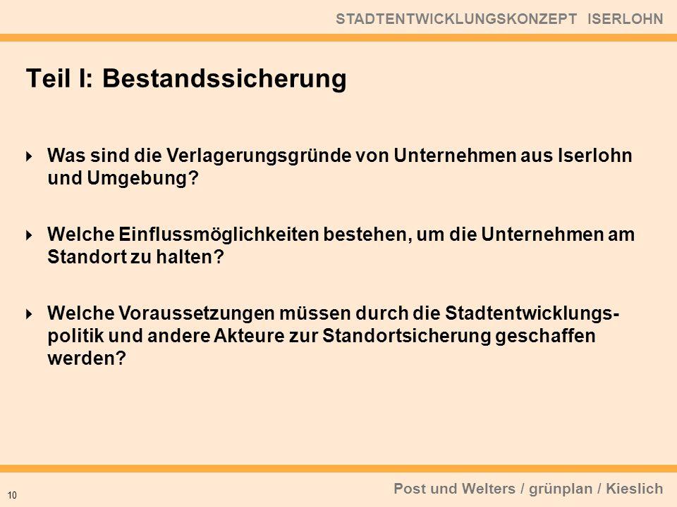 Post und Welters / grünplan / Kieslich STADTENTWICKLUNGSKONZEPT ISERLOHN Was sind die Verlagerungsgründe von Unternehmen aus Iserlohn und Umgebung? We