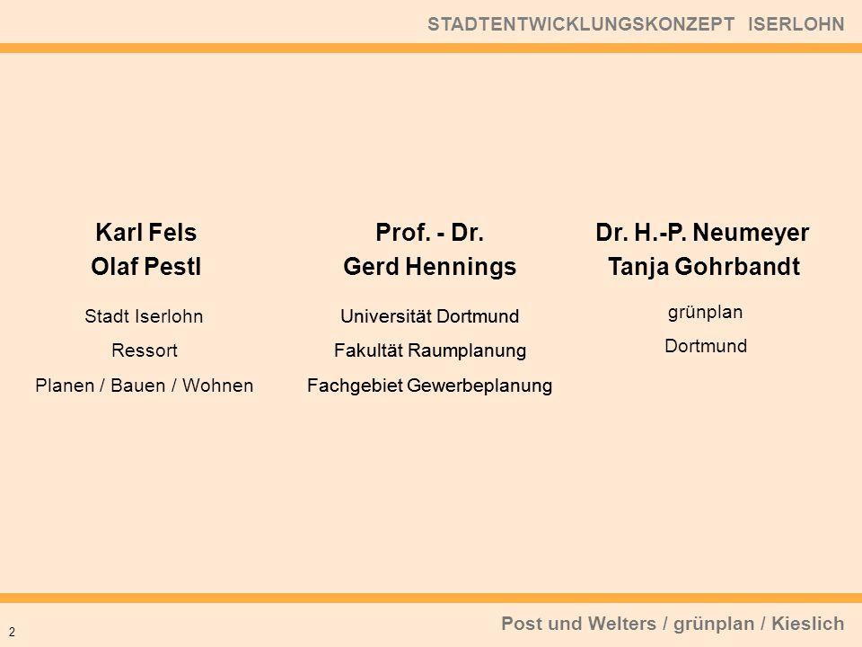 Post und Welters / grünplan / Kieslich STADTENTWICKLUNGSKONZEPT ISERLOHN 2 Dr. H.-P. Neumeyer Tanja Gohrbandt Karl Fels Olaf Pestl Stadt Iserlohn Ress