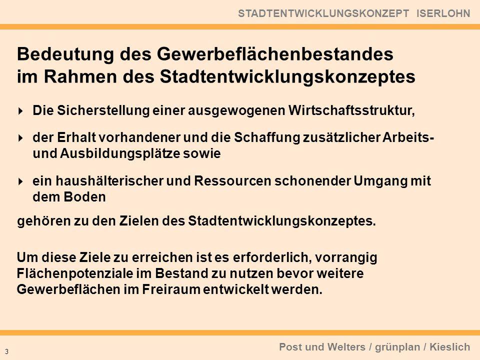 Post und Welters / grünplan / Kieslich STADTENTWICKLUNGSKONZEPT ISERLOHN Die Sicherstellung einer ausgewogenen Wirtschaftsstruktur, der Erhalt vorhand