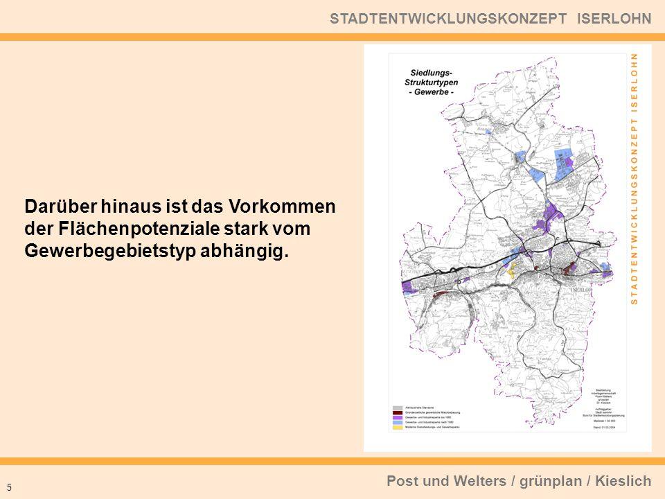 Post und Welters / grünplan / Kieslich STADTENTWICKLUNGSKONZEPT ISERLOHN 5 Darüber hinaus ist das Vorkommen der Flächenpotenziale stark vom Gewerbegeb