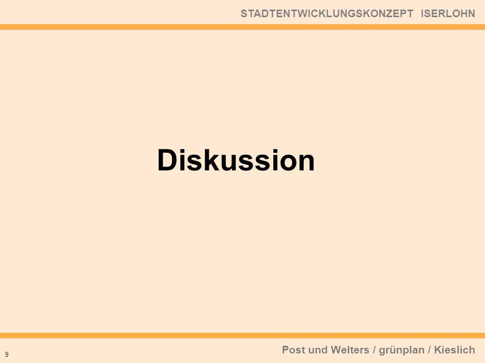 Post und Welters / grünplan / Kieslich STADTENTWICKLUNGSKONZEPT ISERLOHN 9 Diskussion