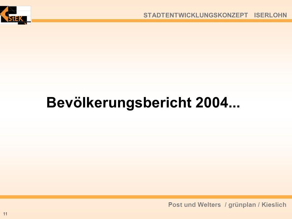 Post und Welters / grünplan / Kieslich STADTENTWICKLUNGSKONZEPT ISERLOHN Bevölkerungsbericht 2004... 11