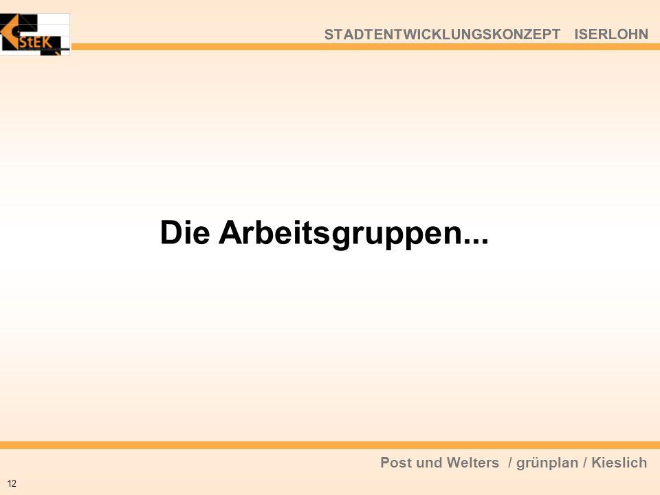 Post und Welters / grünplan / Kieslich STADTENTWICKLUNGSKONZEPT ISERLOHN Die Arbeitsgruppen... 12