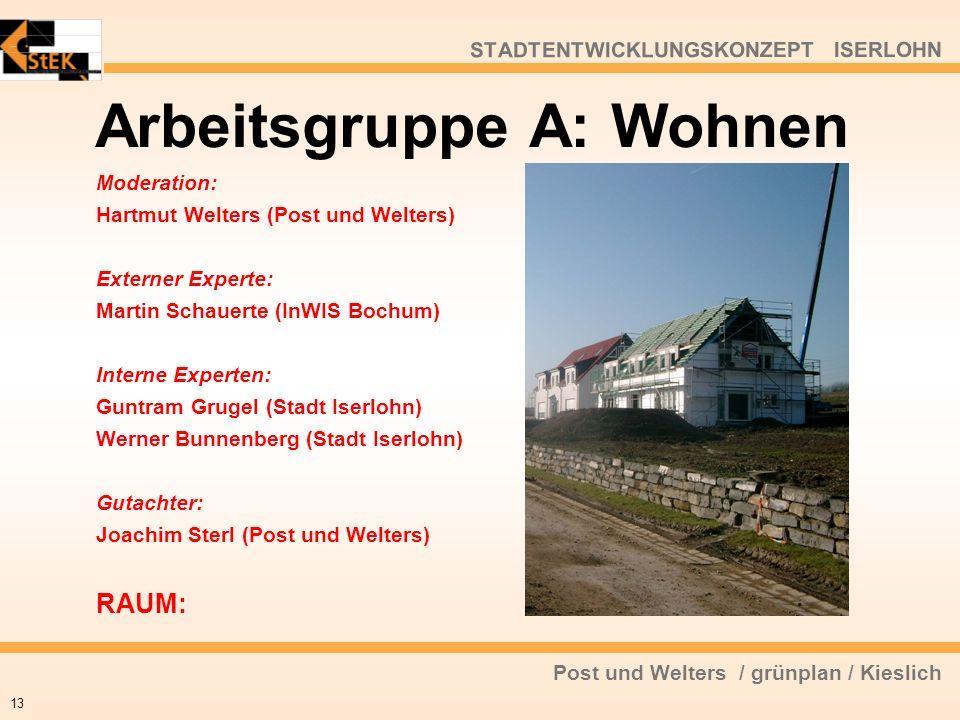 Post und Welters / grünplan / Kieslich STADTENTWICKLUNGSKONZEPT ISERLOHN Arbeitsgruppe A: Wohnen 13 Moderation: Hartmut Welters (Post und Welters) Ext