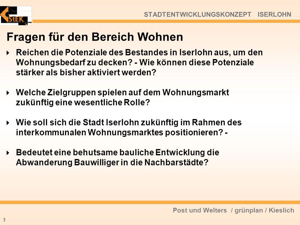 Post und Welters / grünplan / Kieslich STADTENTWICKLUNGSKONZEPT ISERLOHN Fragen für den Bereich Wohnen Reichen die Potenziale des Bestandes in Iserloh