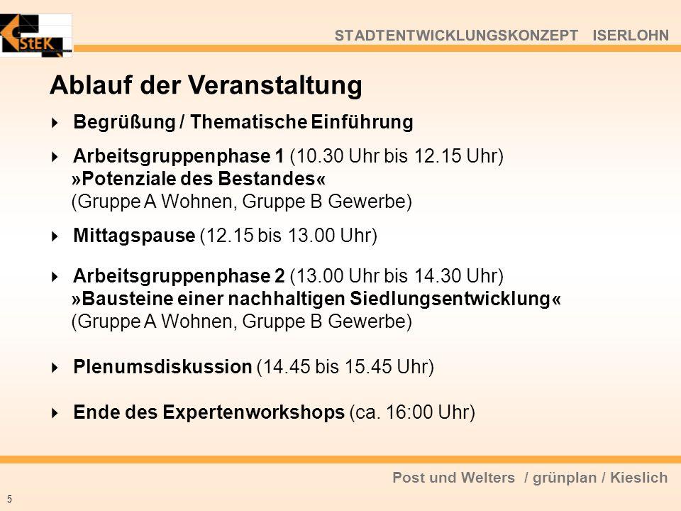Post und Welters / grünplan / Kieslich STADTENTWICKLUNGSKONZEPT ISERLOHN Begrüßung / Thematische Einführung Arbeitsgruppenphase 1 (10.30 Uhr bis 12.15