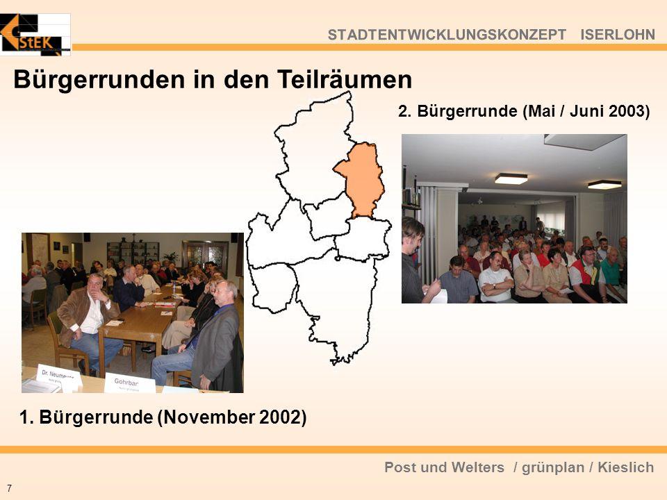 Post und Welters / grünplan / Kieslich STADTENTWICKLUNGSKONZEPT ISERLOHN Bürgerrunden in den Teilräumen 7 1. Bürgerrunde (November 2002) 2. Bürgerrund