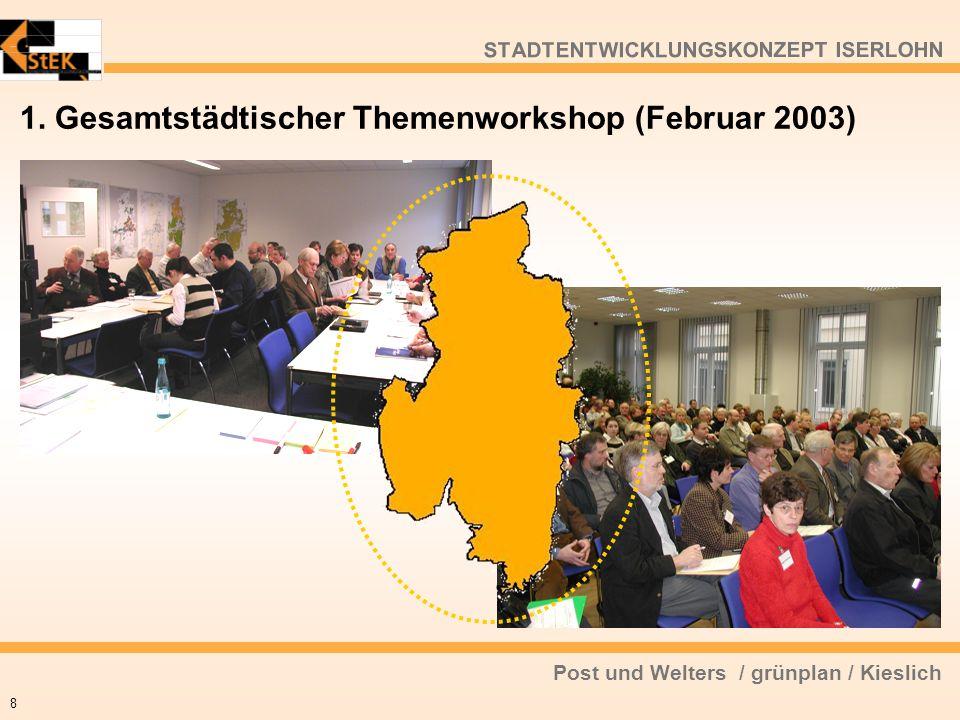 Post und Welters / grünplan / Kieslich STADTENTWICKLUNGSKONZEPT ISERLOHN 1. Gesamtstädtischer Themenworkshop (Februar 2003) 8
