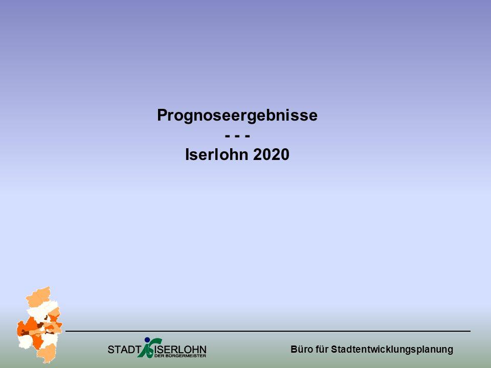 Büro für Stadtentwicklungsplanung Prognoseergebnisse - - - Iserlohn 2020