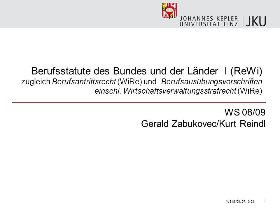 Berufsstatute des Bundes und der Länder I (ReWi) zugleich Berufsantrittsrecht (WiRe) und Berufsausübungsvorschriften einschl.